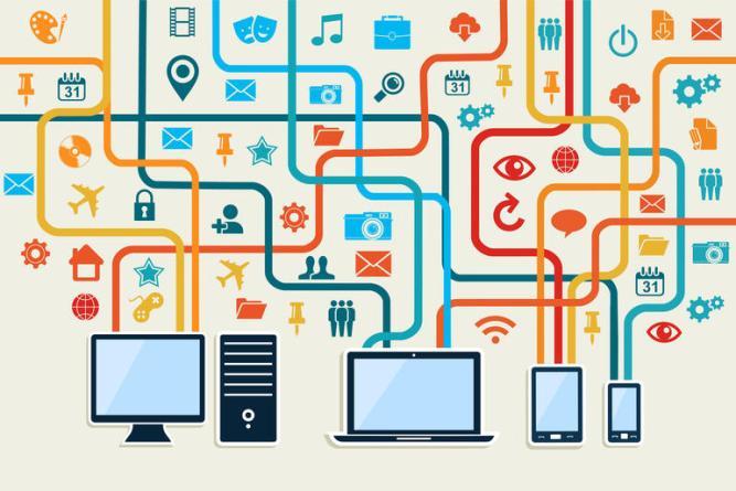 Social media devices connection concept