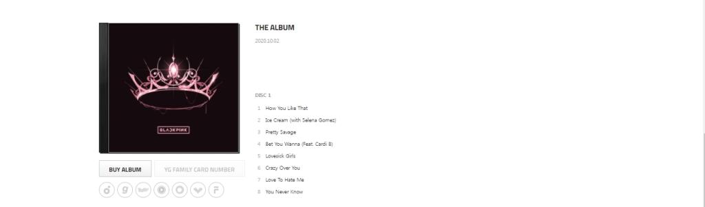 isi lagu album BLACKPINK, YG